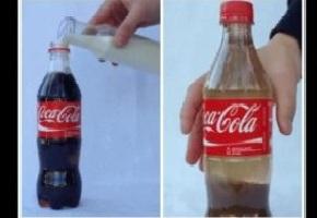 Que sucede si mezclas coca cola y leche?
